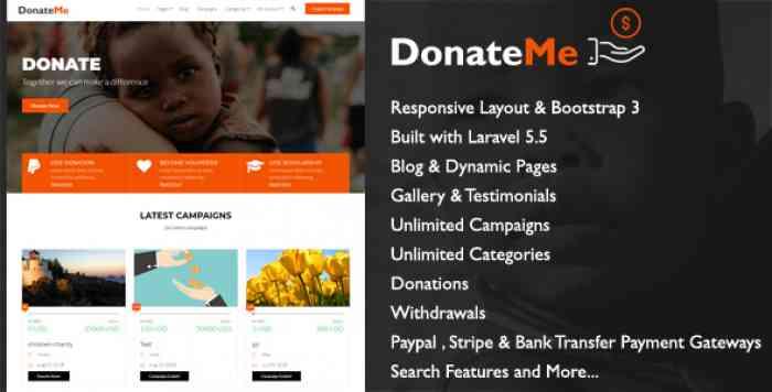 DonateMe v1.1 - Crowdfunding Laravel Script