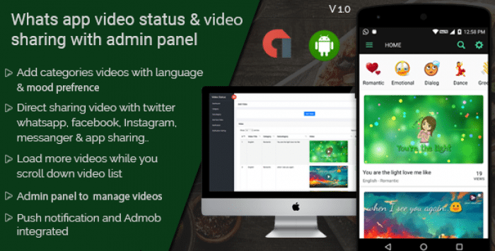 WhatsApp video status & video sharing with admin panel android application