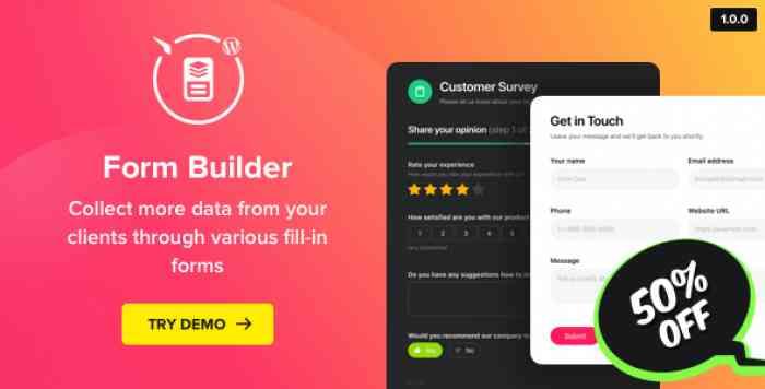 Form Builder v1.0.0 – WordPress Form plugin