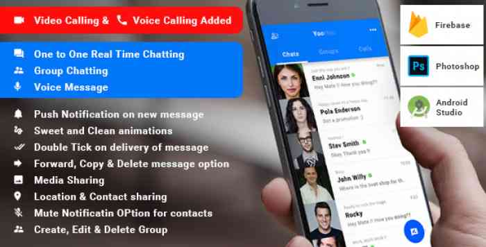 YooHoo v4.1 - Android Chatting App with Voice/Video Calls, Voice messages + Groups -Firebase | Complete App