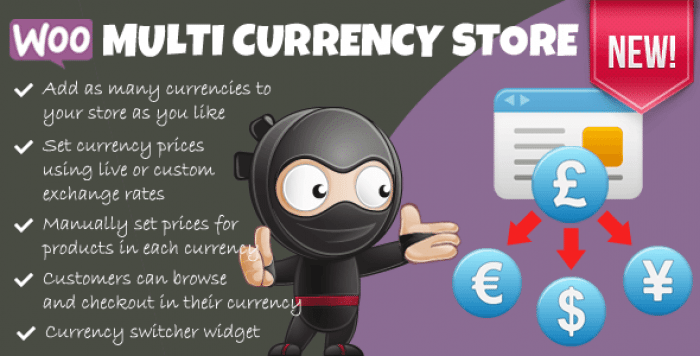 Woocommerce Multi Currency Store v1.9.7