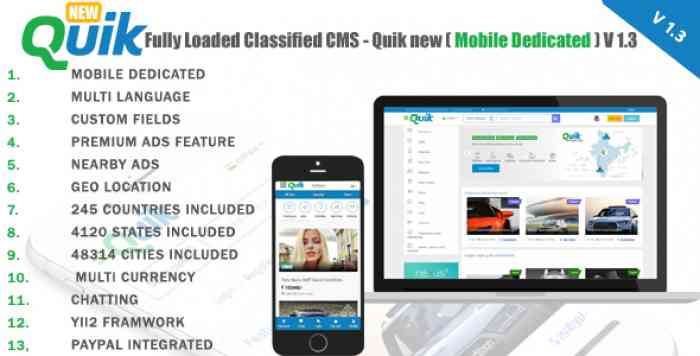 Quik new v1.3 - Fully Loaded Classified Ads CMS