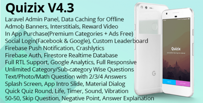 Quizix v4.3 - Android Quiz App with AdMob, FCM Push Notification, Offline Data Caching