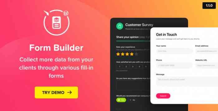 Form Builder v1.1.0 – WordPress Form plugin