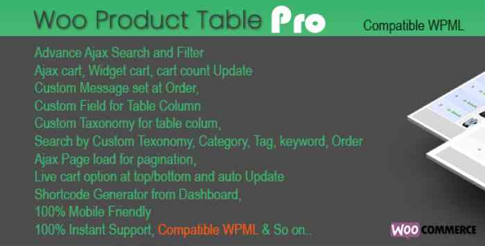 Woo Products Table Pro v3.7