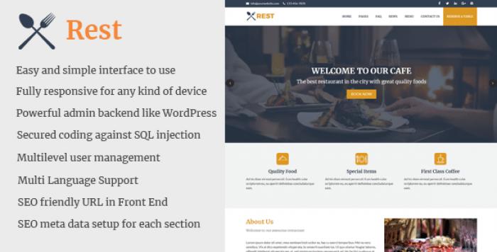 Rest - Cafe and Restaurant Website CMS