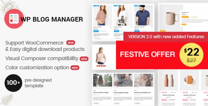 WP Blog Manager v2.0.0 - Plugin to Manage Design Blog