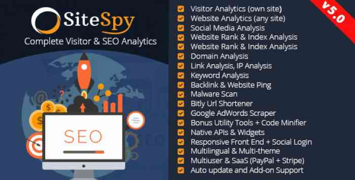 SiteSpy v5.0 - The Most Complete Visitor Analytics & SEO Tools