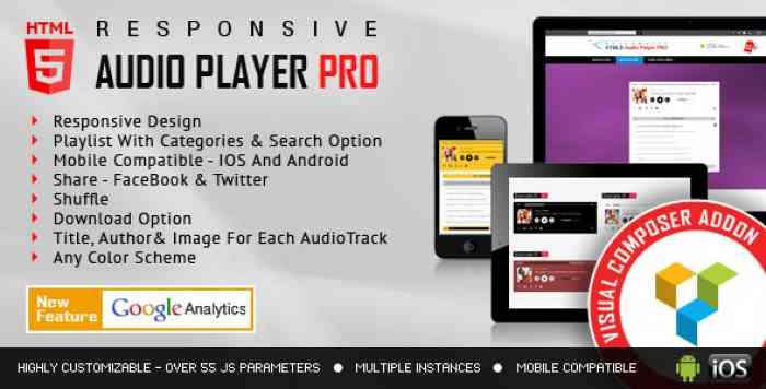 HTML5 Audio Player PRO v1.9.6 - Visual Composer Addon