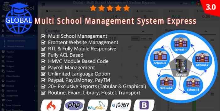 Global v3.0 - Multi School Management System Express - nulled