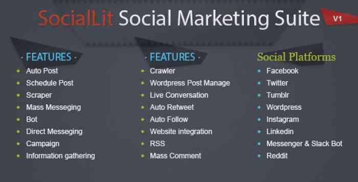 SocialLit v1.0 - Social Marketing Suite