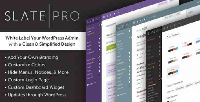 Slate Pro v1.1.5 - A White Label WordPress Admin Theme