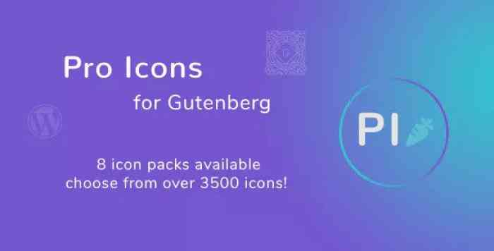 Pro Icons for Gutenberg WordPress Editor v1.0.0