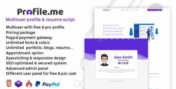 Profile.me v1.0 - Multiuser Profile & Resume Script