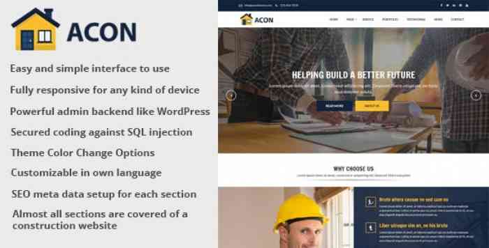 Acon v1.5 – Architecture and Construction Website CMS