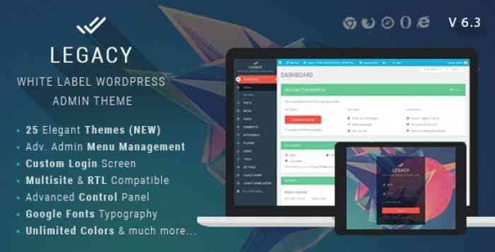 Legacy v6.3 – White label WordPress Admin Theme