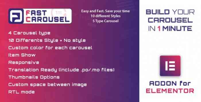 Fast Carousel for Elementor v1.0 – WordPress Plugin