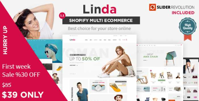 LINDA – MULTIPURPOSE ECOMMERCE SHOPIFY THEME