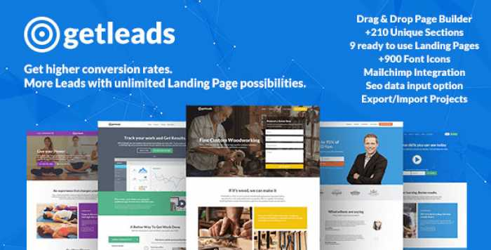 GETLEADS V1.5.5 – LANDING PAGE PACK WITH PAGE BUILDER