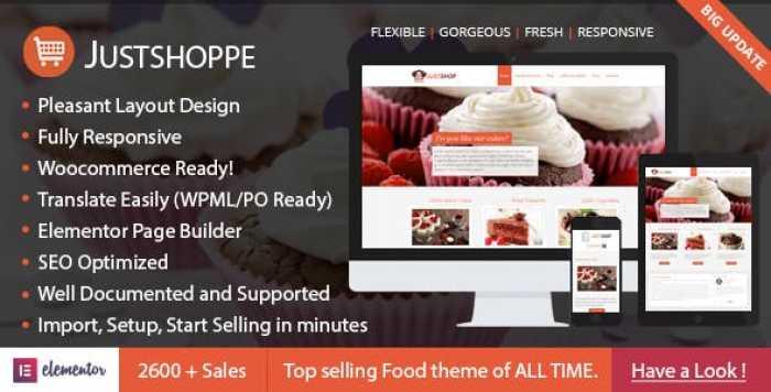 JUSTSHOPPE V10.0 – ELEMENTOR CAKE BAKERY WORDPRESS THEME