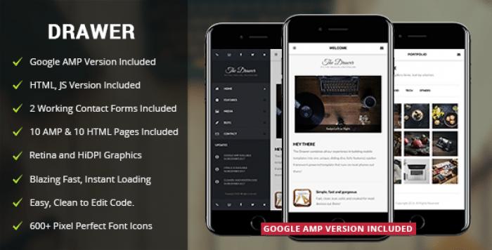 DRAWER MOBILE V2.0 – MOBILE & GOOGLE AMP TEMPLATE