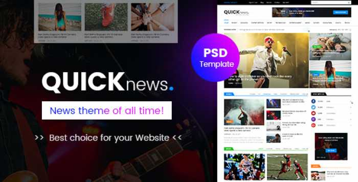 QUICKNEWS – BLOG, MAGAZINE & NEWS PSD TEMPLATE