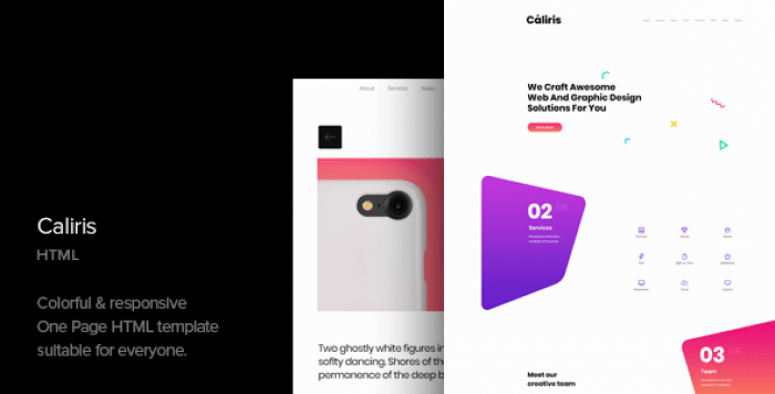 CALIRIS – RESPONSIVE ONE PAGE HTML TEMPLATE