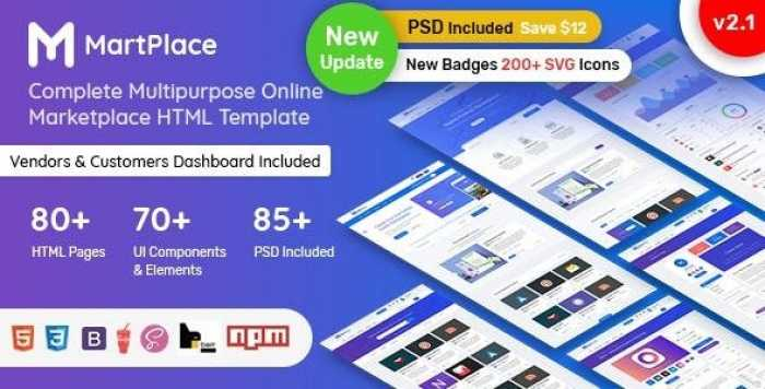 MARTPLACE V2.1 – MULTIPURPOSE ONLINE MARKETPLACE HTML TEMPLATE WITH DASHBOARD
