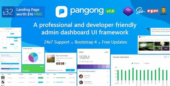 PANGONG V1.1 – DEVELOPER-FRIENDLY BOOTSTRAP 4 ADMIN DASHBOARD + UI KIT