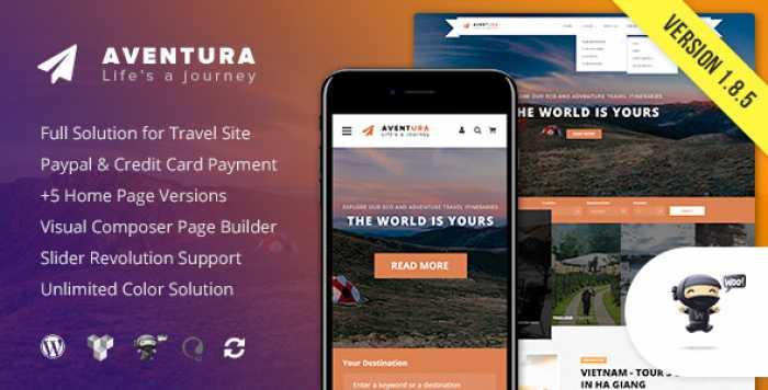 AVENTURA V1.8.5 – TRAVEL & TOUR BOOKING SYSTEM THEME