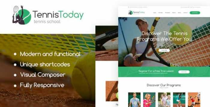 TENNIS TODAY V1.2 – SPORT SCHOOL & EVENTS WORDPRESS THEME