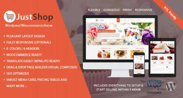 JUSTSHOP V8.4 – CAKE BAKERY RESTAURANT WORDPRESS THEME