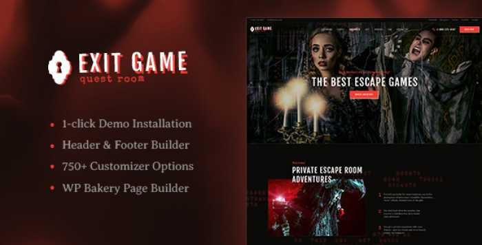 EXIT GAME V1.0 – REAL-LIFE ROOM ESCAPE WORDPRESS THEME