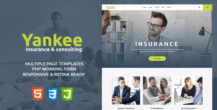 YANKEE V1.1 – INSURANCE & CONSULTING HTML TEMPLATE
