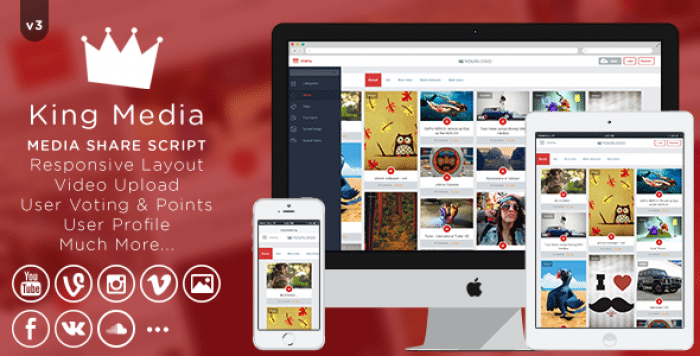 King MEDIA v3 – Video, Image Upload and Share