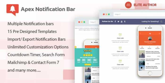 Apex Notification Bar v2.0.5 - Responsive Notification Bar Plugin for WordPress