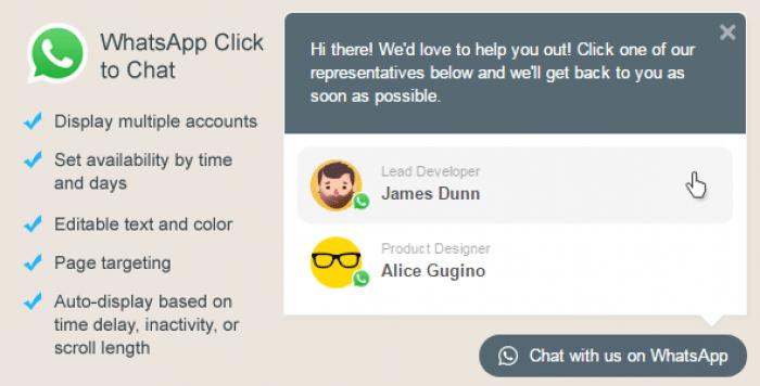 WhatsApp Click to Chat Plugin for WordPress v1.6