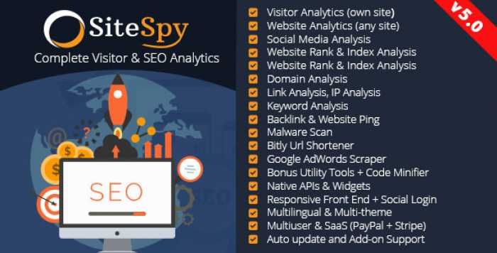 SiteSpy v5.0 – The Most Complete Visitor Analytics & SEO Tools