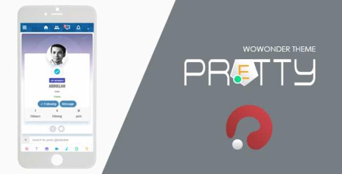 Pretty-Theme for WoWonder Social PHP Script v2.0