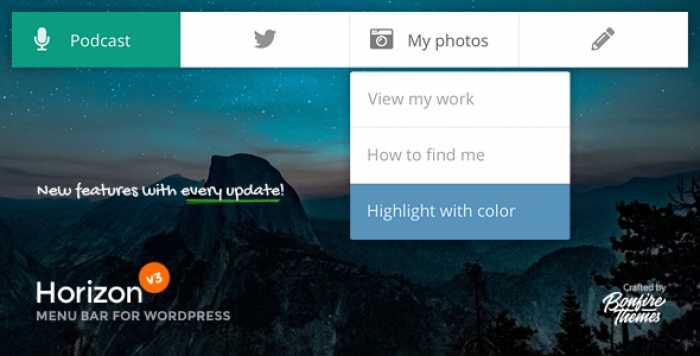 Horizon v3.1 - Menu Bar Plugin for WordPress