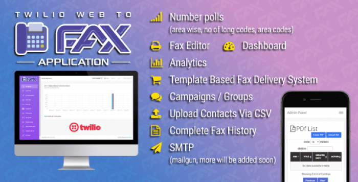 Twilio WEB To Fax Machine System Application PHP Script v1.1