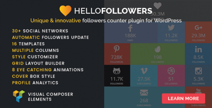 Hello Followers v2.1 – Social Counter Plugin for WordPress