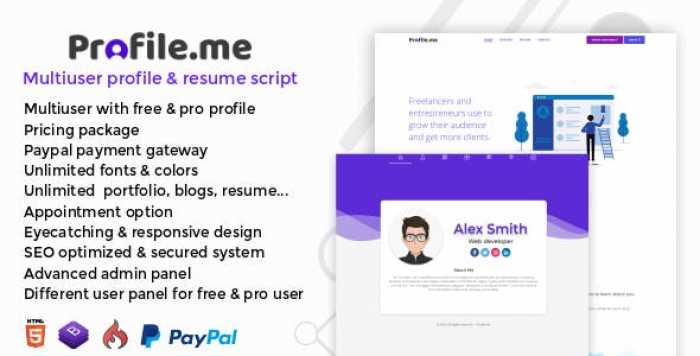 Profile.me v1.0 - Multiuser Profile & Resume Script
